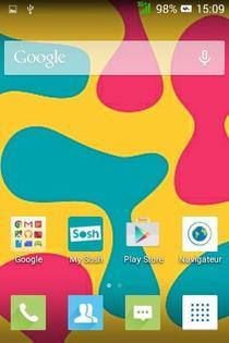 Alcatel Soshphone Mini : l'écran d'accueil s'affiche.