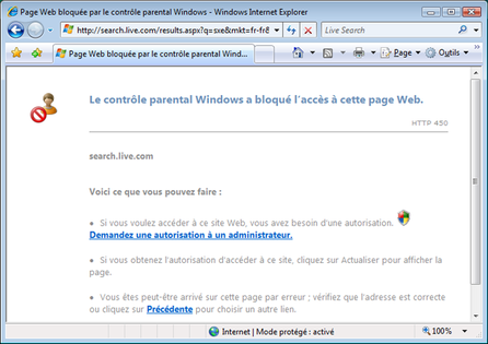 Page apparaissant lors du bloquage d'un site par le contrôle parental Windows Vista