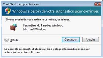 Fenêtre d'avertissement du contrôle des comptes d'utilisateurs