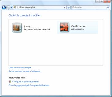 Fenêtre permettant de changer de compte utilisateur