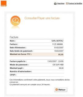 Facture pro r gler assistance orange - Orange optimale pro office ...