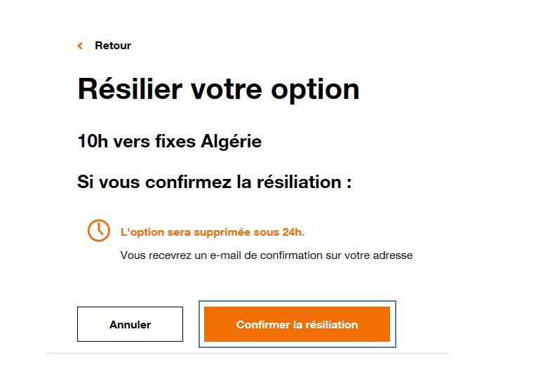 Option Internet Mobile Resilier Assistance Orange