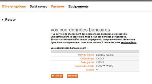 facture modifier vos coordonn es bancaires rib assistance orange. Black Bedroom Furniture Sets. Home Design Ideas