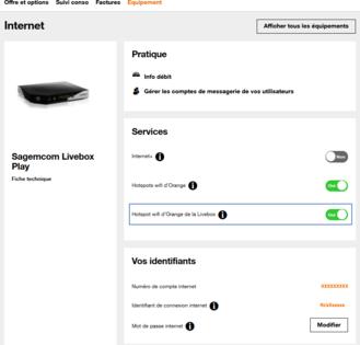 livebox activer ou d sactiver le wifi partag assistance orange. Black Bedroom Furniture Sets. Home Design Ideas