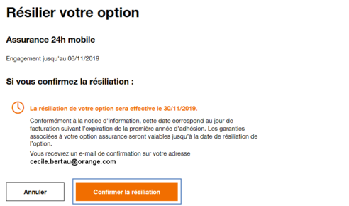 Option Assurance Mobile Résilier Assistance Orange