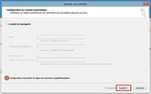 outlook 2013 pc configurer un compte de messagerie assistance orange. Black Bedroom Furniture Sets. Home Design Ideas