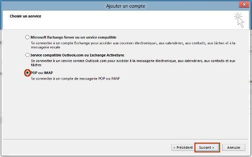 Outlook 2013 pc configurer un compte de messagerie for Orange mail messagerie internet illimite