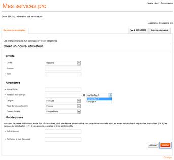 messagerie mail pro cr er une nouvelle adresse mail assistance orange. Black Bedroom Furniture Sets. Home Design Ideas