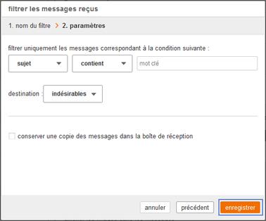 messagerie mail pro filtrer vos messages re us assistance orange. Black Bedroom Furniture Sets. Home Design Ideas