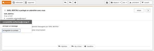 messagerie mail pro ajouter un contact partir d 39 un mail re u assistance orange. Black Bedroom Furniture Sets. Home Design Ideas