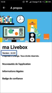 ma livebox android ios v rifier la version logicielle de l 39 application ma livebox. Black Bedroom Furniture Sets. Home Design Ideas