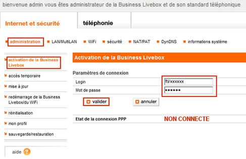 business livebox configurer la connexion internet assistance orange. Black Bedroom Furniture Sets. Home Design Ideas