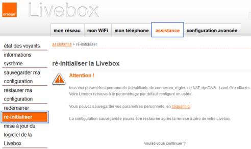 livebox 2 remettre z ro assistance orange. Black Bedroom Furniture Sets. Home Design Ideas