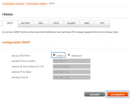 livebox 2 activer le serveur dhcp assistance orange. Black Bedroom Furniture Sets. Home Design Ideas