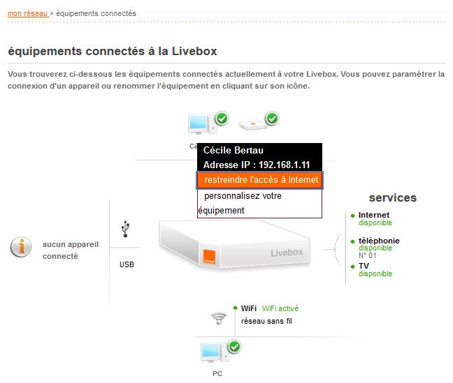 livebox 2 cr er des r gles d 39 acc s internet pour vos quipements assistance orange. Black Bedroom Furniture Sets. Home Design Ideas