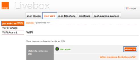 livebox 2 activer ou d sactiver le wifi assistance orange. Black Bedroom Furniture Sets. Home Design Ideas