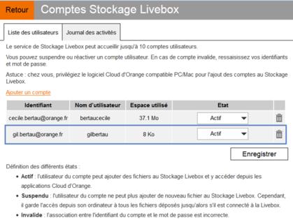 a306682bb35 Stockage Livebox   activer un compte utilisateur - Assistance Orange