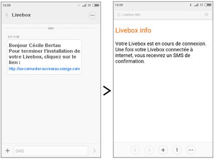 livebox 4 image sms avec lien pour se connecter