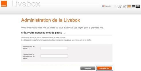 livebox play perte du mot de passe d 39 acc s l 39 interface assistance orange. Black Bedroom Furniture Sets. Home Design Ideas