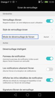 Huawei P8 : activer ou désactiver le code de sécurité