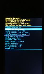 Motorola (Lenovo) Moto E4 : réinitialiser le mobile à partir