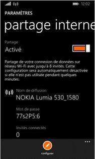 nokia lumia 530 activer ou d sactiver le partage de connexion assistance orange. Black Bedroom Furniture Sets. Home Design Ideas