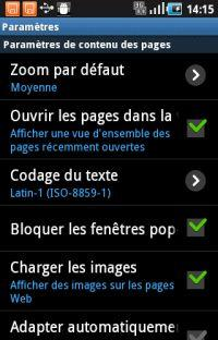 Samsung galaxy ace ve naviguer et acc der aux options de for Bloquer fenetre pop up
