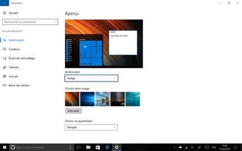 Windows 10 pour tablette Lenovo : changer de fond d'écran