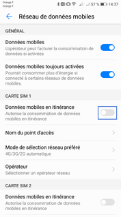android 7 nougat pour honor activer ou d sactiver la connexion de donn es l 39 tranger. Black Bedroom Furniture Sets. Home Design Ideas