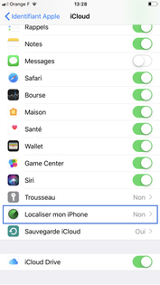 localiser mon iphone activer
