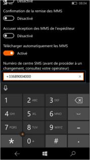 mobile tablette tous les mobiles et tablettes installer utiliser communiquer gerer sms mms windows  enregistrer le numero de centre serveur d envoi