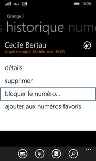 windows phone 8 1 ajouter ou supprimer un num ro de la liste de rejet d 39 appel assistance orange. Black Bedroom Furniture Sets. Home Design Ideas