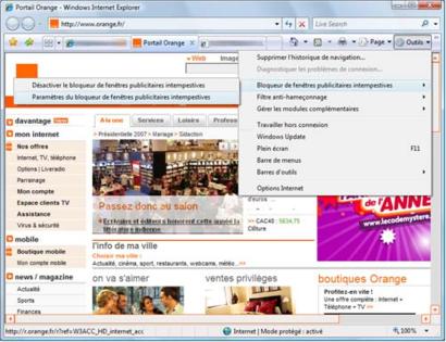 Internet explorer 7 g rer les fen tres publicitaires for Bloqueur de fenetre publicitaire