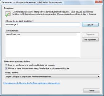 Internet Explorer 7 Gérer Les Fenêtres Publicitaires Assistance
