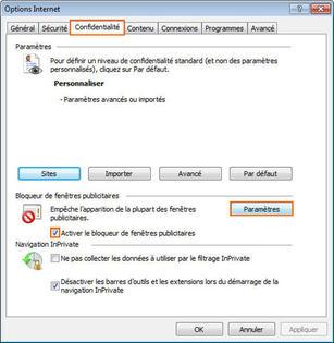 Internet explorer 8 param trer le bloqueur de fen tres for Logiciel pour empecher les fenetre publicitaire