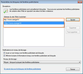 Internet Explorer 8 Paramétrer Le Bloqueur De Fenêtres