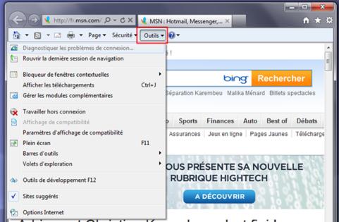 Internet explorer 9 utiliser le menu contextuel for Bloqueur de fenetre publicitaire