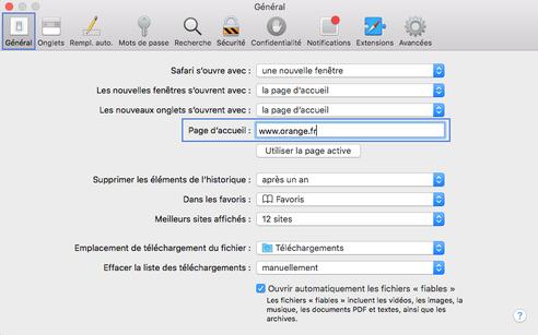 Safari Mac Definir La Page D Accueil Assistance Orange
