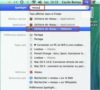 Mac os v rifier la connexion la livebox avec l for Fenetre utilitaire mac