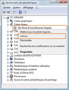 carte fast ethernet compatible rhine ii via windows 7