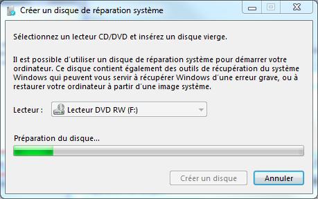 Windows 7 Creer Un Disque De Reparation Assistance Orange