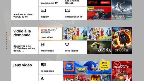 d codeur tv 4 menu d 39 accueil blanc acc der netflix assistance orange. Black Bedroom Furniture Sets. Home Design Ideas