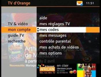 tv d 39 orange par satellite r initialiser votre code confidentiel assistance orange. Black Bedroom Furniture Sets. Home Design Ideas
