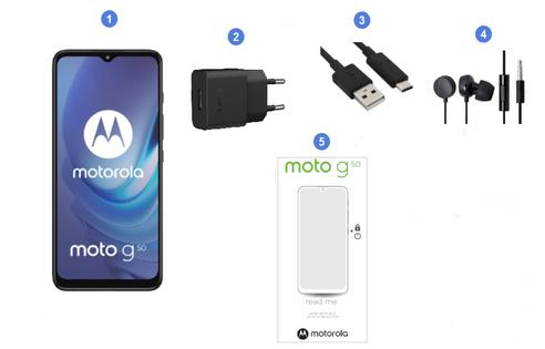 Motorola Moto G50 5G, conetnu du coffret.