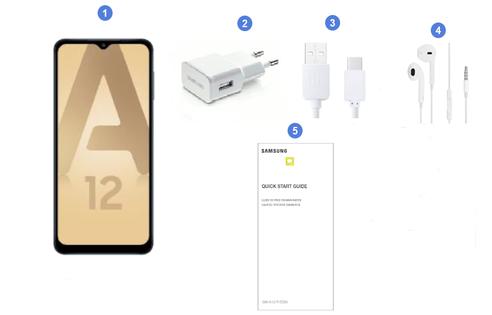 Samsung Galaxy A12 V2, contenu du coffret.