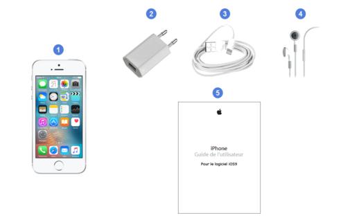 apple iphone se,contenu du coffret.