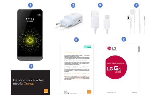 LG G5, contenu du coffret.