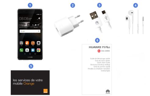 Huawei P9 Plus, contenu du coffret.