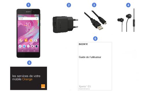 Sony Xperia E5, contenu du coffret.