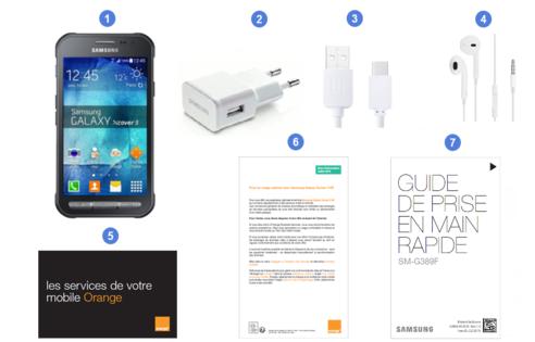Samsung Galaxy Xcover 3 VE, contenu du coffret.